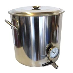 HomeBrewStuff 32 QT Stainless Steel Home Brew Kettle with Valve and Thermometer