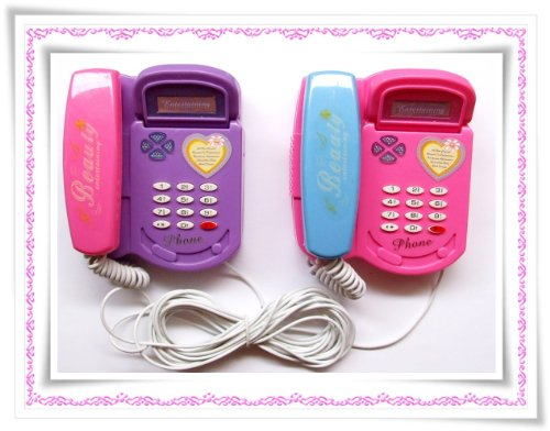 kinder telefonanlage 2 telefone mit 7m kabel telefon handy prinzessin telefone handys. Black Bedroom Furniture Sets. Home Design Ideas
