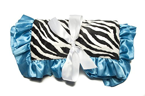 Minky Baby Blanket Zebra Ultra-Soft Rose Buds, 36IN X 30IN, Black / White / Turquoise
