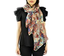 FandS - Paisley Floral Print Allover Fashion Scarf | One Size | Orange Color
