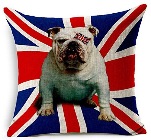 Creative Personality Union Jack Pet Dog Lovely English Bulldog Home Throw Pillow Case Personalized Cushion Cover NEW Home Office Decorative Square 18 X 18 Inches (English Bulldog Throw Pillows compare prices)