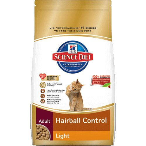 Hill's Science Diet Adult Light Hairball Control Dry Cat Food, 15.5-Pound Bag