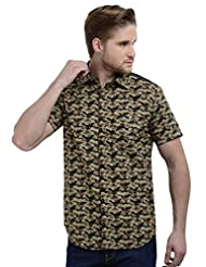 Sting Olive Green Slim Fit Camouflage Printed Half Sleeve Cotton Casual Shirt