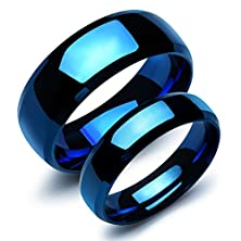 buy Fate Love Stainless Steel Our Love Pure As The Sea Noble Ocean Blue Couple Rings Wedding Band,New+Free Gift Box
