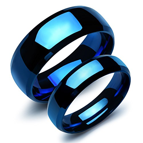 Fate Love 2 pcs Stainless Steel Our Love Pure as the Sea Noble Ocean Blue Couple Rings Wedding Band