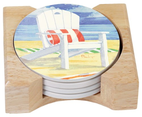 CounterArt Adirondack Chairs Design Absorbent Coasters in Wooden Holder, Set of 4 Assorted
