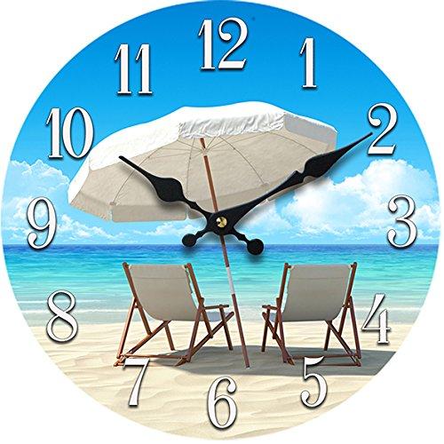 New-13-X-13-Beach-Chair-Glass-Wall-Clock-Home-Wall-Decor-Coastal-Nautical-Beach (Tropical Outdoor Clock compare prices)
