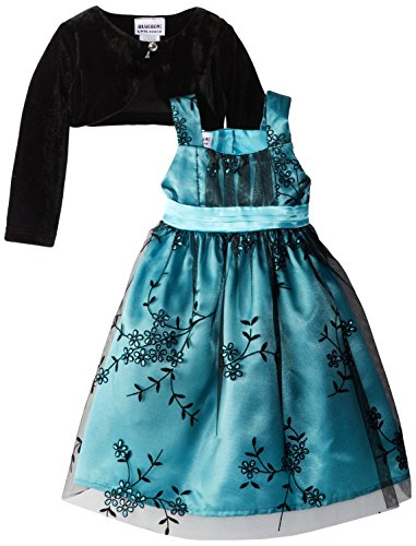 Blueberi Boulevard Little Girls' Teal Glitter Flocked Occasion Dress With Shrug, Teal, 3T
