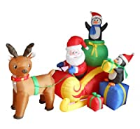 6 Foot Long Christmas Inflatable Santa on Sleigh with Reindeer and Penguins Yard Decoration from BZB Goods