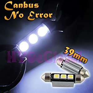 (PACK OF 2) CANBUS ERROR FREE 39mm CAR INTERIOR LIGHT / NUMBER PLATE FESTOON BULB 3 LED 5050 SMD WHITE C5W 272 SV8 -BY HYOeGlobal