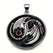 Fire Dragon Silver Pendant with Garnet