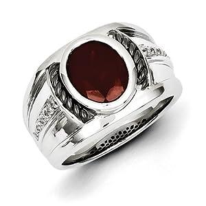 Sterling Silver Garnet & Diamond Oval Black Rhodium-plated Men's Ring Size 4.5