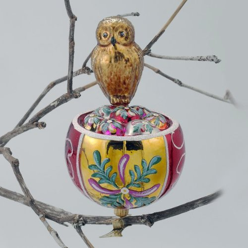 OWL BIRDS NEST Glass Ornament Made in Poland David Strand