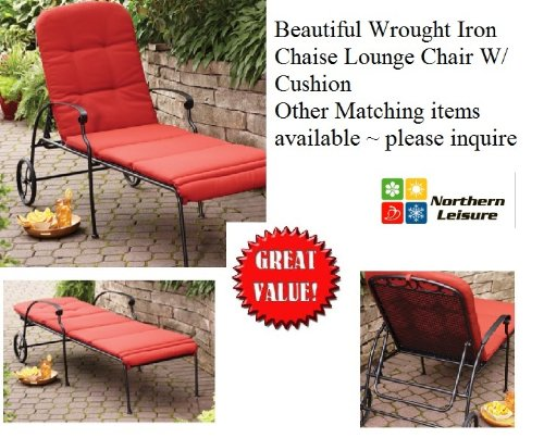 Outdoor Wrought Iron Chaise Lounge Chair W/ FREE Cushion ~ Wheels ~ Adjustable Position (Wrought Iron Chaise compare prices)