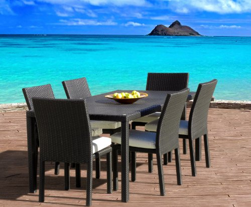 Outdoor Patio Wicker Furniture New All Weather Resin 7-Piece Dining Table & Chair Set photo