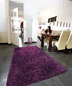 Arte Espina Lounge Collection Beat 17 Purple Aubergine Square Shaggy Rugs, 200 x 200 cm (6'7 x 6'7 ft)