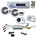 51QzokDmY2L. SL160  Pyle Mega MP3 Radio/Speaker/Amplifier Package for Boat/Car/Truck/SUV    PLMRKT34WT In Dash Marine AM/FM PLL Tuning Radio W/ USB/SD/MMC Reader + PLMRMP3A 4CH Waterproof MP3/ Ipod Marine Power Amplifier + PLMR25 4 300W 3 Way Weather Proof Mini Box Speaker System (White).