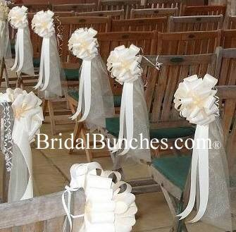 Ivory Tulle & Ivory Satin Wedding Pew Bows Church Decorations Set of 14 9