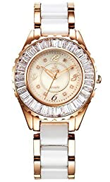 Smays Women\'s Eight Real Diamonds Stainless Steel Ceramic Watch Rose Gold