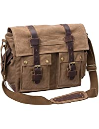 Y.S.Y Messenger Bag Leather Canvas Shoulder Bookbag Laptop Bag + Dslr Slr Camera Canvas Shoulder Bag For Sony...
