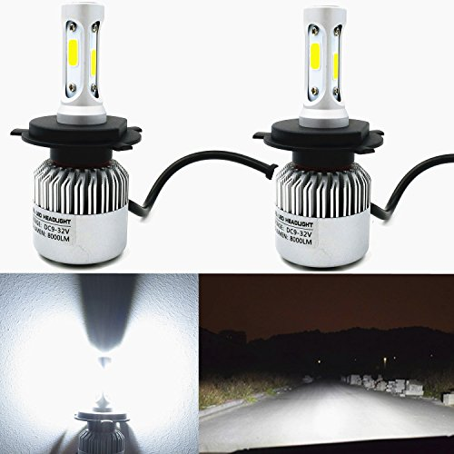 Alla Lighting 8000lm Xtremely Super Bright 6500K Xenon White High Power Mini H4 9003 LED Headlight Conversion Kits Lamps Replacement (H4 9003) (Toyota Tercel Headlights Jdm compare prices)
