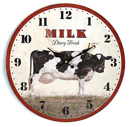 Bada bing wanduhr holz kuh milk vintage o ca 335 cm for Landhausküchen wei