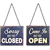 Creative Co-Op Tin Open and Closed Two-Sided Sign, Blue