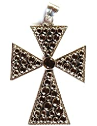 Exotic India Faceted Smoky Quartz Cross Pendant - Sterling Silver