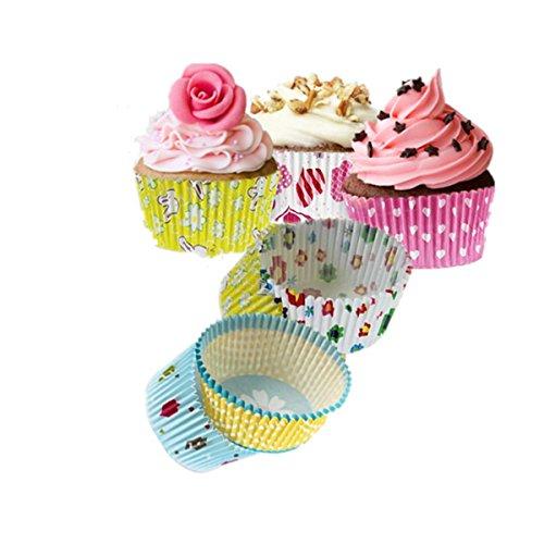 KINGSO Moldes Papel Copa de Horneado 100pcs para Magdalenas Pastel Tarta Cupcakes