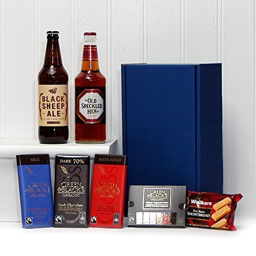 Gents Ale & Chocolate Survival Kit - Blue Box with 500ml Black Sheep Ale, 500ml Old Speckled Hen Ale, Green & Blacks Organic Chocolates & Shortbread - Luxury Wedding Anniversary, Enagagement, Corporate, Retirement, Thank You, 18th 21st 30th 40th 50th 60th