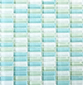 Blue & Green Glass Subway Tile - 1/2x2 For Kitchen Backsplash