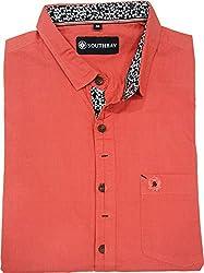 AA' Southbay Men's English Red Georgian Linen Cotton Long Sleeve Solid Designer Ceremonial Shirt - Size L (40)