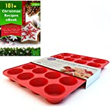 Silicone Mini Muffin Pan and Cupcake Maker 24 Cup, Red, Includes Christmas Recipe Ebook