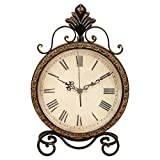 Tarnished bronze 11 in. Metal Table Clock