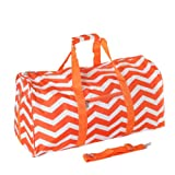 "22"" Orange & White Chevron Print Carry On Duffle Bag"