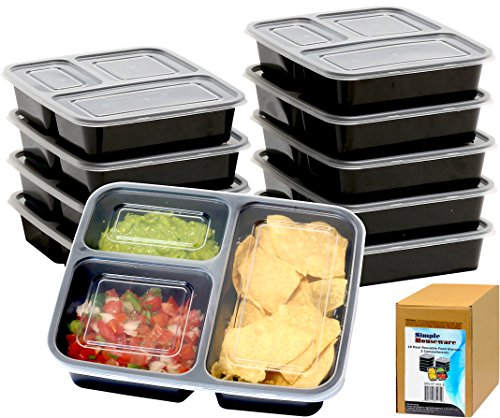 10 Pack - SimpleHouseware 3 Compartment Meal Prep Food Storage Container Bento Lunch Boxes, Reusable, Stackable and Dishwasher, Microwave, Freezer Safe (36 ounces) (Restaurant Prep Containers compare prices)