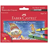Faber and Castell 15 Count Watercolor Crayons with Free Brush