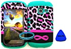 Straight Talk/Net 10 Samsung Galaxy DISCOVER CENTURA R740 S730G S738C Pink Leopard with Infinity Logo on Teal Gel Cover Case(Wireless Fones TM Wristband & Pry Tool Included)