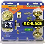 Schlage Lock FB50NVPLY505 Bright Brass Plymouth Design Keyed Entry Lockset With Single-Cylinder Deadbolt - Quantity 4