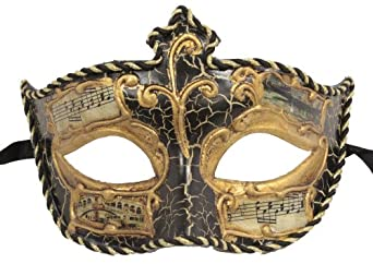RedSkyTrader Mens Classic Vintage Style Mask One Size Fits Most Black And Gold