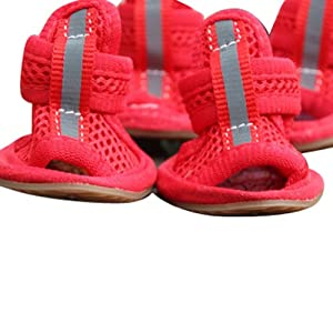 Wisedeal Summer lovely unisex Puppy Pet Mesh Sandals Shoes boots for dogs cats(4/pack) With a Wisedeal Keychain Gift (Red, 2#)