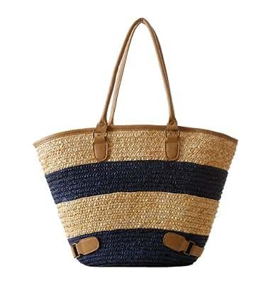 Tonwhar European Style Large Capacity Stripes Straw Bag Woven Beach Bag (Blue)