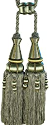 Xia Home Fashions Artisan Oversized Double Tassels Pewter