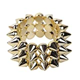Orien 1pc Hedgehog Rivets 3 Rows Stretch Elastic Bangle Bracelet Hot Cool Gothic Rock Punk Style Studs Spike-Silver Golden