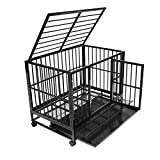 New Dog Crate Kennel - Heavy Duty Pet Cage Playpen w/ Metal Tray Pan (L, Black)
