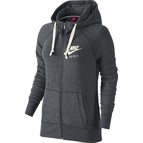 Women's Nike Sportswear Gym Vintage Hoodie Carbon Heather/Sail Size X-Large