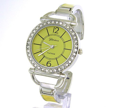 Slim and Classy Silver Ladies Bangle Watch with Crystals and Yellow Enamal Band