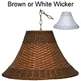 "16"" Wide PLUG IN White Wicker Rattan Swag Lamp Pendant Light Chandelier Hanging Lamp Shade"