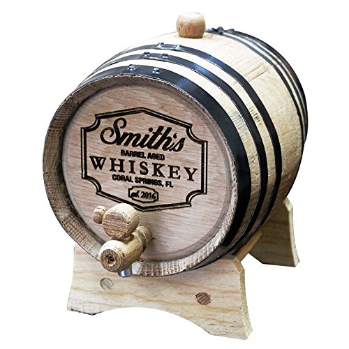 Custom Engraved Oak Whiskey or Wine Barrel - 3 Liter - Personalized for Free with Barrel Aged Design (Wine Barrel Keg compare prices)