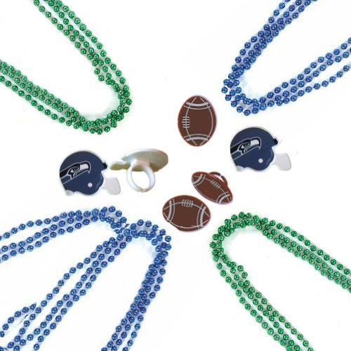 20 Spirit Necklace Beads & 6 Football & Seattle Seahawks Rings - Party Favors at Amazon.com